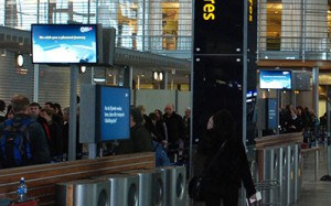 Airport security checkpoint digital display