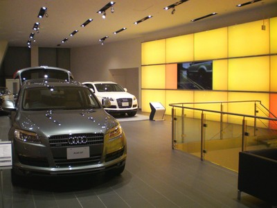 Audi car dealership showroom digital signage