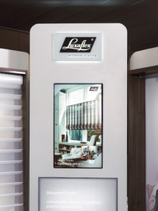The digital signage content on the kiosk gives the customers the opportunity to get inspired, to pre-select appropriate products and to get information about these products while they are waiting for a salesperson to serve them.