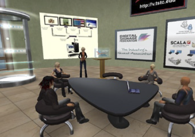At TSTC, students receive training in digital signage completely online in a virtual classroom environment called Second Life where students log in with an avatar.