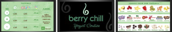 Powered by Scala InfoChannel, Berry Chill's digital signage network