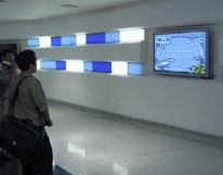 Digital signage is also prominent on three 61-inch plasma screens