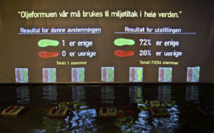 The audience is encouraged to involve themselves and provide a 'yes' or 'no' answer by stepping on a red or green footprint embedded in the water.