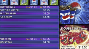 Driven from dynamic sources, a single media player displays menu items, combos, animated specials and pricing for all concession items.