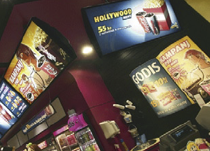 The implementation calls for 4 screens in a group with as many as 16 groups in a given movie theatre.
