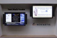 "The Novartis Digital Sign Network is currently composed of 18 -- 40"" Mitsubishi LCD screens located in building lobbies, cafeterias and break rooms"