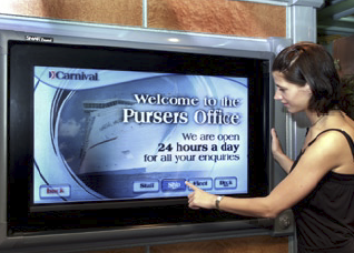The touch-enabled Digital Signage Kiosks are used by guests to access information about deck plans, onboard events, dining times, shore excursions and other port-of-call information.
