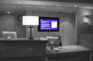 In the reception areas, in shops and throughout the ship, all of the screens display information that is relevant to the location.