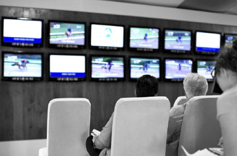 Fasig-Tipton previously used banks of TVs running pre-recorded horse performances, but they wanted to upgrade to the latest technology to broadcast the event in real time and in high definition throughout the facility.