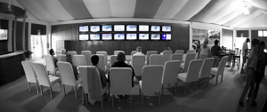 The system uses Scala Player for multimedia playback of HD horse workout video and sales data such as updates and sale results. It can also run customized graphics, and sound and video updates continuously on the LCD TVs and kiosks according to an established schedule.