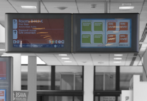 Similar to entrances, exits use both permanent and flexible icon screens to deliver a different set of messages when visitors leave the venue.