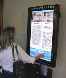"Each poster is composed of a 42"" Panasonic screen, oriented in portrait mode, and connected to a digital signage network where medical professionals can search for relevant information with just a touch of the screen."