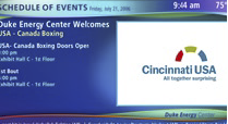 The system also provides the convention center the capability of entering text-based messages, which like any other content, can be shown selectively on any or all displays.