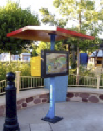 Movieworld Theme Park to provide quality information to its visitors, six 42-inches tactile plasma screens, encased in custom designed protection stands and strategically placed in every themed zone of the park were commissioned from and installed by Scala specialist ASVideo