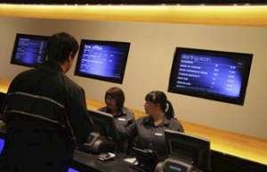 """Beaver Solutions installed 47 Sanyo 42"""" LCD panels, which display content for the box offi ce, concessions stands and movie posters throughout the cinema."""